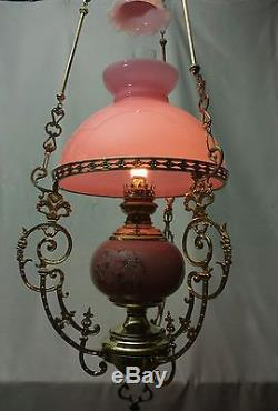 Oil Lamp French Chandelier Victorian Hanging Ornate Pink Opaline Shade