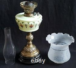 Antique Oil Lamp Hand Painted Fuchsia Flowers Acid Etched Frosted Glass Shade