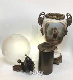 Antique Oil Lamp Hinks No. 2 Burner Rams Head Handles French Porcelain Urn Paris