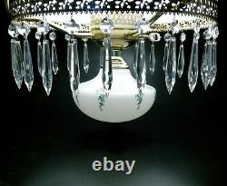 Antique Oil Lamp Light Fixture Parlor Victorian Brass Hanging Library Chandelier