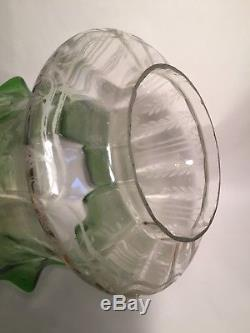 Antique Oil Lamp Shade Etched Glass Tulip Shade C1900