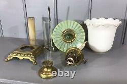 Antique Oil Lamp Vaseline Glass Font Marble And Brass Column Base Kosmos Burner