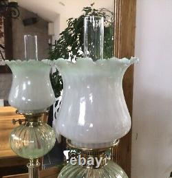 Antique Oil Lamp Vaseline Glass Font Veritas Brass And Black Ceramic Base