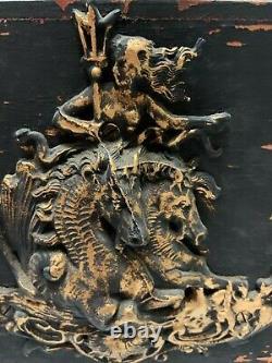 Antique Oil Lamp Wood Base Seahorses Poseidon Decoration Embossed Font 10 Sq