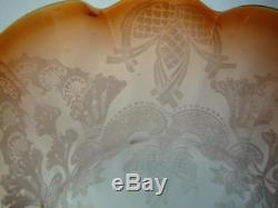 Antique Orange Etched & Ribbed Glass Tulip Shape Duplex Oil Lamp Shade 4 Rim