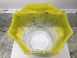 Antique Original Yellow Lemon Acid Etched Duplex Oil Lamp Shade 4