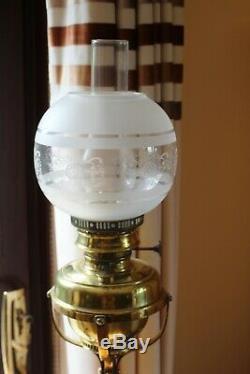 Antique-Ornate Brass/Copper Telescopic Floor Standing Oil Lamp