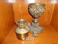 Antique Ornate Victorian Bradley & Hubbard Gilt Spelter Metal Fluid Oil Lamp