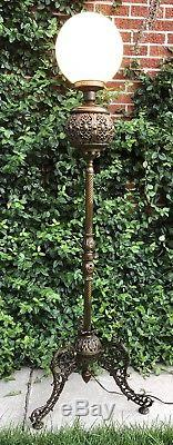 Antique Ornate Victorian Gilt Brass Parlor Oil Floor Lamp 1878 Bradley Hubbard