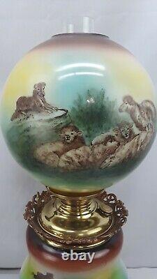 Antique P. L. B. G Success Banquet Oil Lamp Sheep Dog Herder GWTW 1903