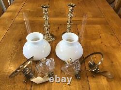 Antique Pair Of Cut Crystal Peg Oil Lamps Milk Glass Cowl Shades
