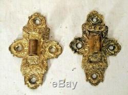 Antique Pair Victorian Gilt Brass Oil Lamp Wall Bracket Holders