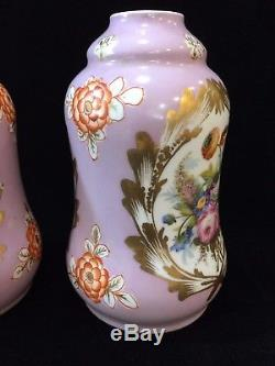 Antique Pair of Hand Painted Pink Wind Oil Lamp Gourd Shaped Vases Only, 9 1/2