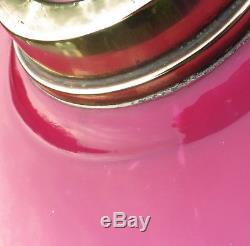 Antique Pink Hand Painted Glass & Brass Column Duplex Oil Lamp Flowers/Swags