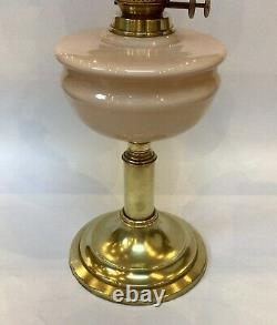 Antique Pink Oil Lamp Moulded Glass Pink Opaque Shade Brass Base Duplex Oil Lamp