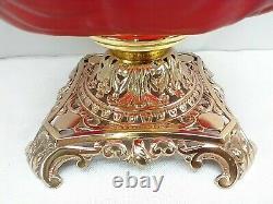 Antique Pittsburgh Success Sunken Hollyhock Button Tuft Red Satin GWTW Oil Lamp