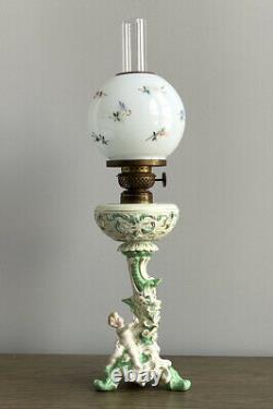 Antique Porcelain Figural P & A Mfg Co. Oil Lamp Burner Wick Painted Globe GWTW