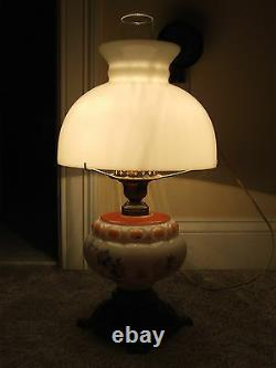 Antique Porcelain Victorian Electric Oil GWTW Table Lamp with Milk Glass Shade