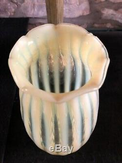 Antique Powell Uranium Vaseline Straw Opal Glass OIL LAMP Young's No. 1 burner