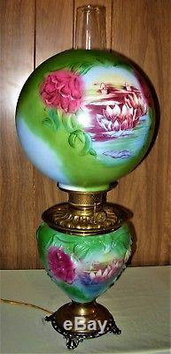 Antique Rare GWTW Oil Lamp Electrified (Rare Lily in the Pond Pattern)