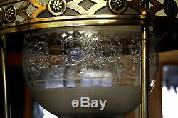 Antique Rare Victorian Hanging Duplex Oil Lamp with Brass Font & Original Shade