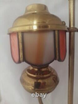 Antique Slag Glass Student Oil Lamp 13 Tall