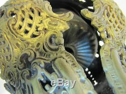 Antique VICTORIAN 1800's Figural & Decorated Oil LAMP ornate design throughout