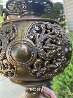 Antique VICTORIAN Brass PIANO FLOOR LAMP NY OIL PARLOR DRAGONS BUDDHA KEROSENE