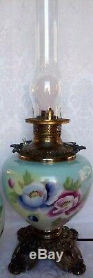 Antique VICTORIAN Era Gone with the Wind Oil LampHand Painted Converted