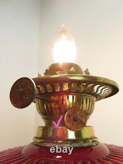 Antique VICTORIAN OIL LAMP Electrified ACID ETCHED CRANBERRY RUFFLE SHADE & FONT