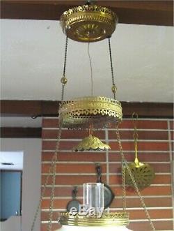 Antique VICTORIAN RETRACTABLE HANGING OIL LAMP