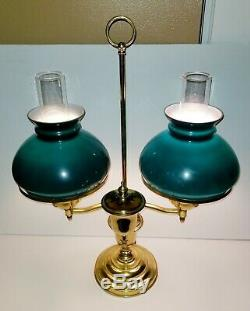 Antique/VTG Victorian Brass Double Student Oil Lamp/ Bradley Hubbard Style