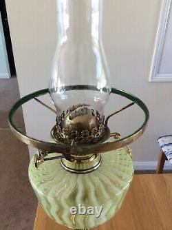Antique Vaseline Glass Duplex Oil Lamp