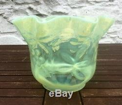 Antique Vaseline Glass Oil Lamp Shade, Floral Motifs 4 Fit. Powell Walsh Benson