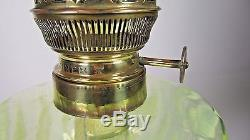 Antique Vaseline Glass Table Oil Lamp Victorian Foliage Parlor Matador 20 Burner