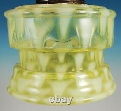Antique Vaseline Opalescent Glass Oil Bracket Lamp Sharks Tooth Christmas Trees