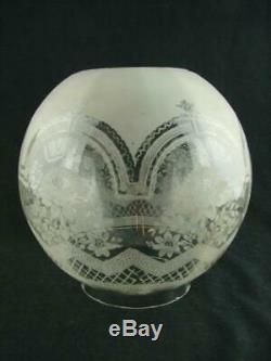 Antique Veritas Etched Glass Globe Duplex Oil Lamp Shade Art Nouveau Design