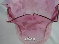 Antique Veritas Graduated Cranberry Glass Etched Tulip Oil Lamp Shade 4 Fitter