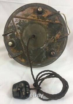 Antique Veritas Oil Lamp / Church Pulpit Heather, Cranberry Shade, Electric