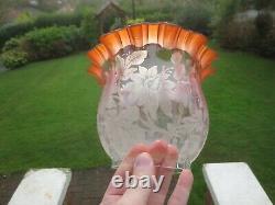 Antique Veritas Victorian Glass Duplex Oil Lamp Shade