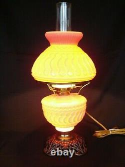 Antique Victorian 1895 Pink Dithridge Sunset Pattern GWTW Banquet Oil Lamp