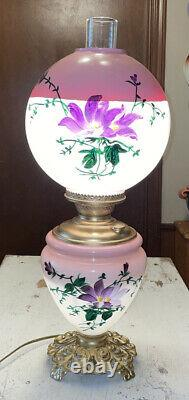 Antique Victorian 24 Hand Painted Gwtw Banquet Parlor Converted 3-way Oil Lamp