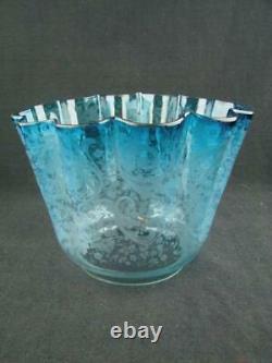 Antique Victorian, Art Nouveau Blue Etched Glass Duplex Oil Lamp Shade 4 Fitter