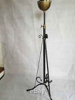 Antique Victorian Art Nouveau Brass Floor Standard Oil Lamp Stand, Jardiniere