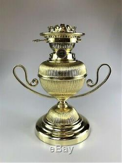 Antique Victorian Art Nouveau Hinks Brass Oil Lamp and No. 2 Burner