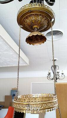 Antique Victorian B&H Glass Painted Lily Pull Down Hanging Library Oil Lamp