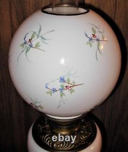 Antique Victorian Banquet Floral GWTW Electrified Oil Lamp 3 Tier
