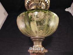 Antique Victorian Banquet Kerosene Oil LampBronzeGreen OnyxPeriod ShadeVGC