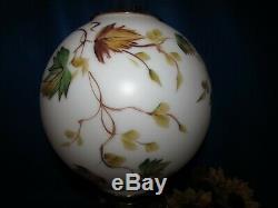 Antique Victorian Banquet Parlor Electrified Oil Lamp Ball Globe Shade Brass 21