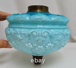 Antique Victorian Blue Glass Kerosene Oil Lamp Font 80687